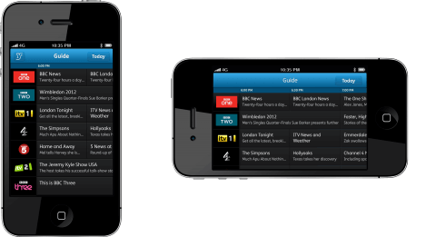 YouView iPhone App - TV Guide