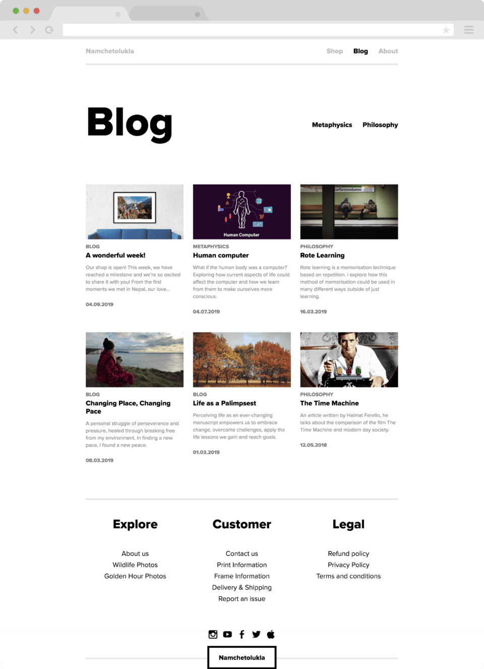 Blog section page