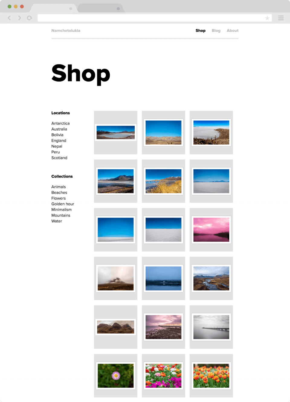Shop section page